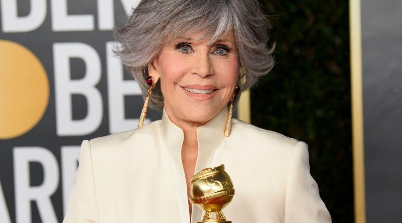 Jane Fonda no Globo de Ouro. Foto: HFPA Photographer